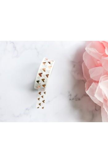Washi Tape Corazones Oro Rosa
