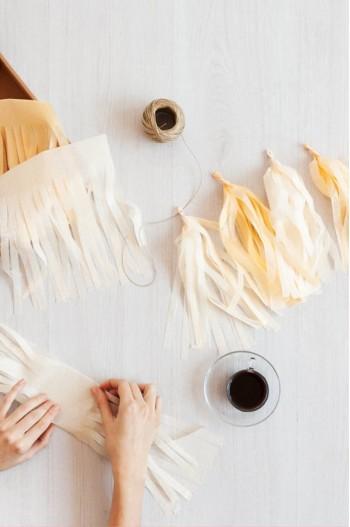Guirnalda Tassel o flecos de papel de seda personalizada