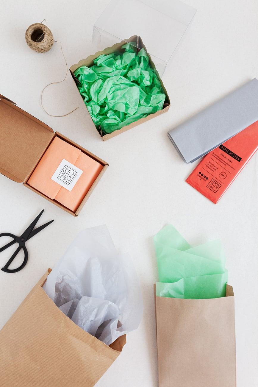 Presentación de productos con papel de seda